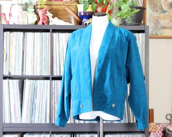80s vintage ultrasuede jacket, bright turquoise blue, approx womens large