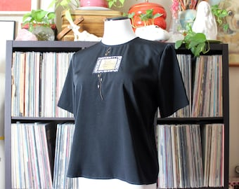 boxy black top with leopard print detail embroidery, vintage silky blouse, womens petite small