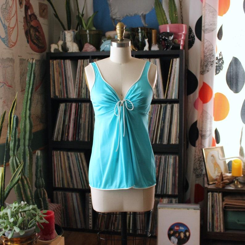 vintage 1970s nightie top turquoise nylon with keyhole image 0