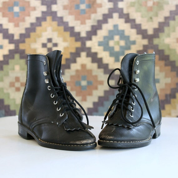 KIDS vintage lace up roper boots size 11.5, black leather by Laredo