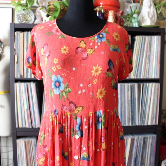 coral vintage rayon butterfly dress by Bila, 90s y