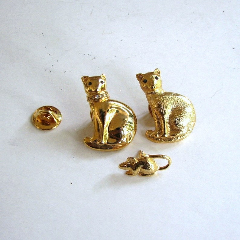 vintage Carolee cat brooches mouse scatter pin collection image 0