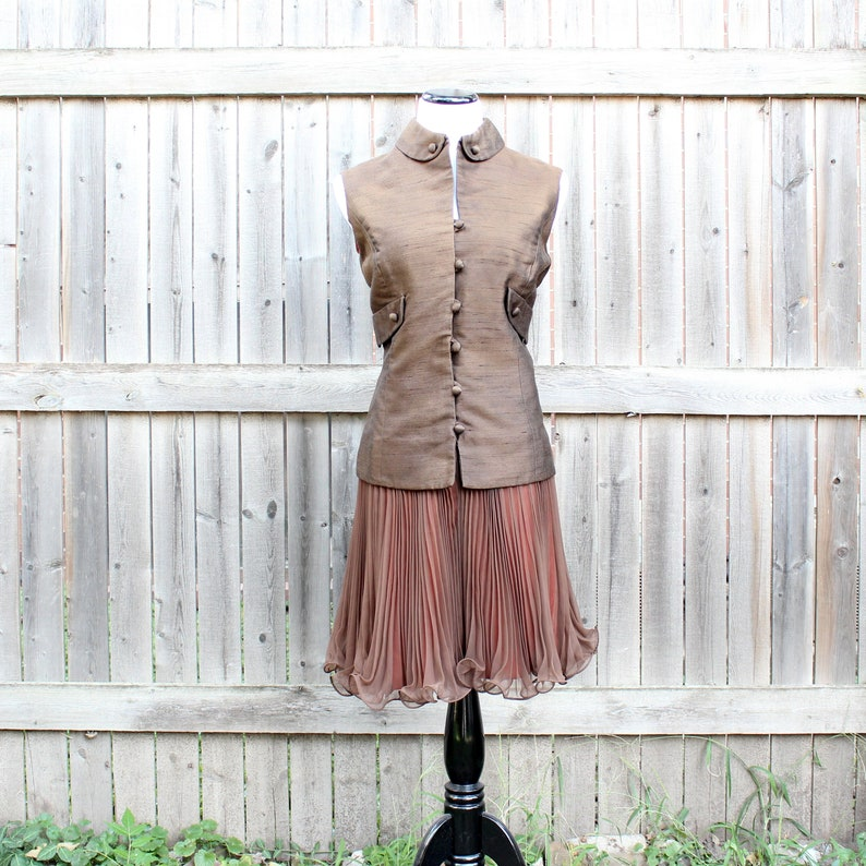 vintage 1960s dress brown cocktail frock with pleated chiffon image 0