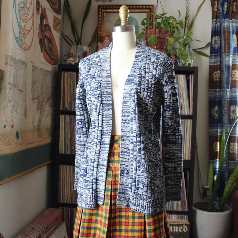 womens 1970s vintage cardigan blue space dye sweater with image 0
