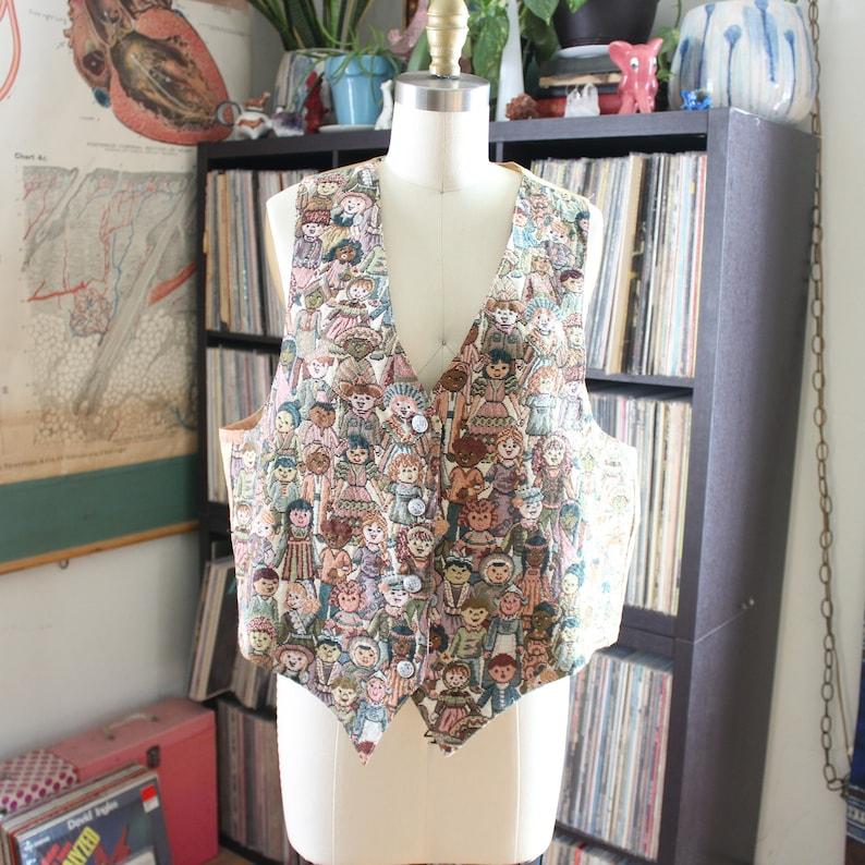 80s womens vintage tapestry vest  novelty design of image 0