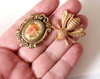 vintage bee pin and rose brooch by Sarah Coventry