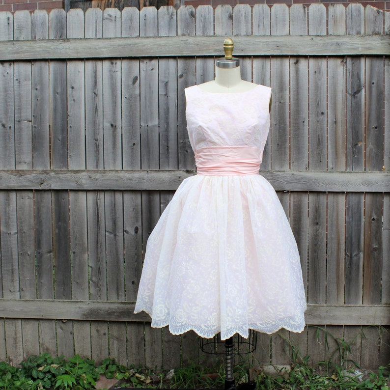 vintage 1950s party dress flocked pink prom with full skirt image 0