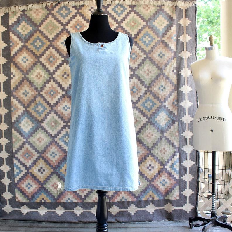 90s vintage denim dress light wash Eddie Bauer womens size image 0