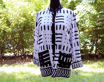 morse code, reversible rayon and cotton jacket . black and white artist jacket with nehru collar size large