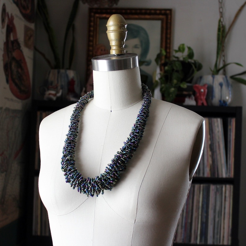chunky vintage seed bead necklace dark carnival peacock glass image 0