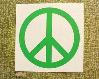 green peace sign heat press transfer iron on for t-shirts, sweatshirts