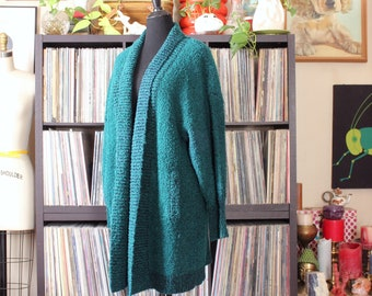vintage boucle sweater jacket, long green duster cardigan with pockets, womens large xl