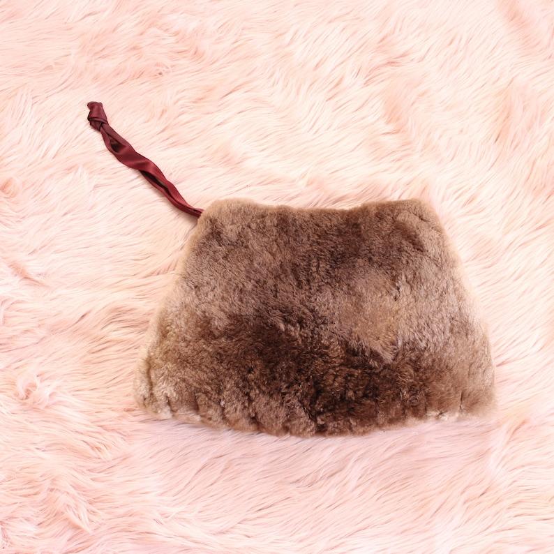 large vintage fur muff sheared beaver muffler with hidden image 0
