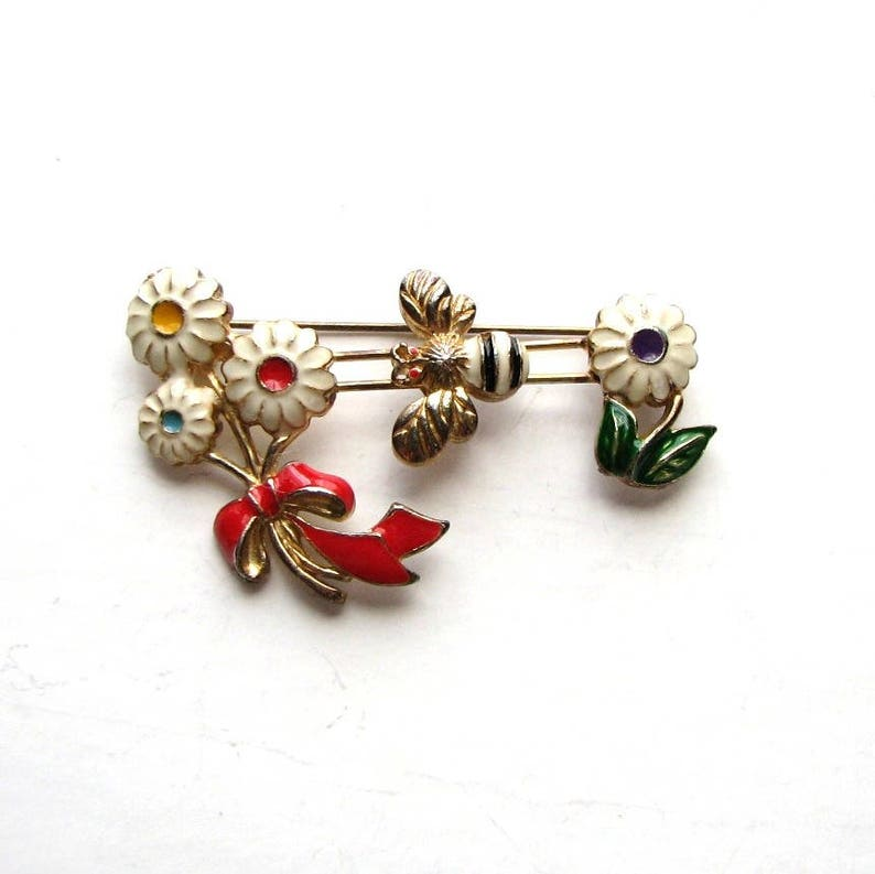 vintage enamel bee and flowers slider brooch pin image 0