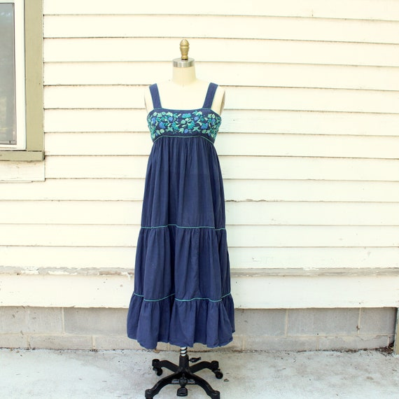 size bodice embroidered peasant womens cotton vintage with Wear blue Jugnu sundress dress small aTB4xHawgq