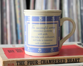 vintage Mug Mates lidded coffee mug or tea cup with inspirational quote for women, 80s Hallmark