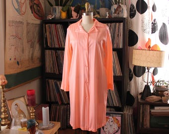 womens vintage striped nylon robe . mid length button down peach robe, lounge jacket duster . small to medium