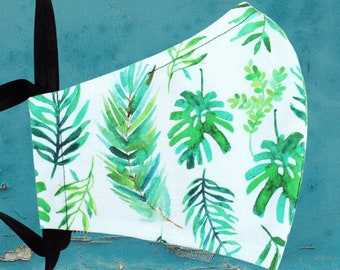 monstera palm reusable cloth face mask with nose wire, green watercolor plants print, filter pocket and elastic tie