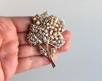 vintage pastel flower brooch, signed Weiss, geometric pastel AB rhinestones