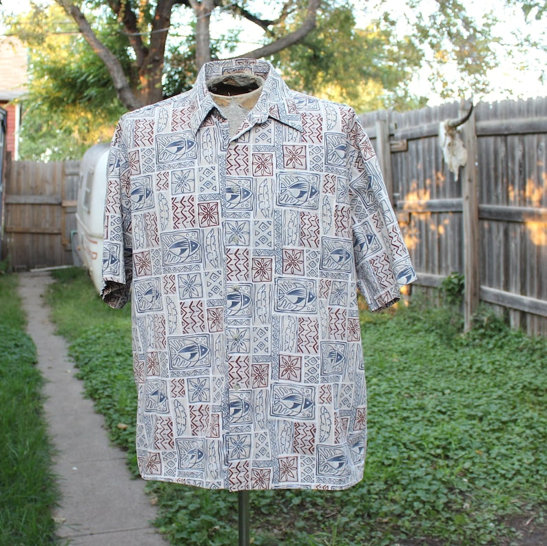 mens XL vintage Hawaiian shirt 90s tan cotton short sleeve image 0