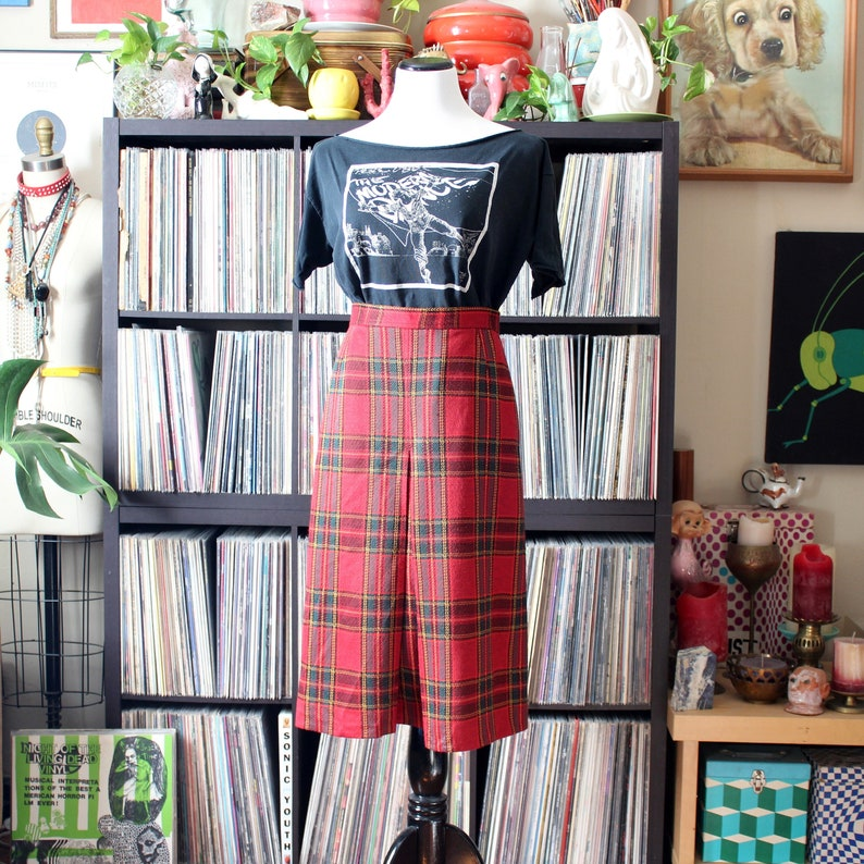 1970s vintage plaid skirt,high waisted with front pleat Jack Winter womens medium