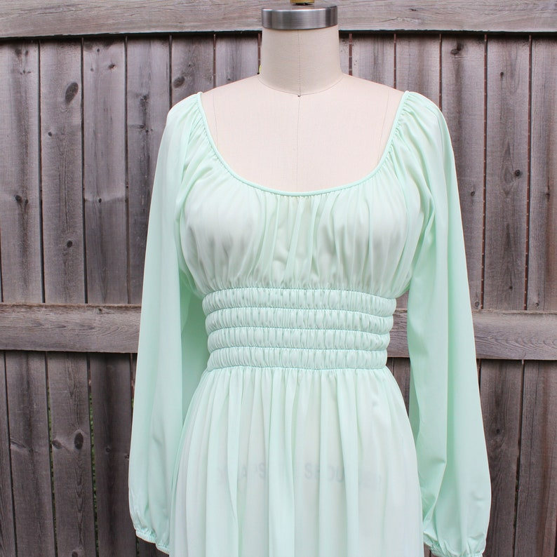 vintage 60s 70s Grecian nightgown with long sleeves empire image 0