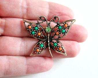 """colorful vintage butterfly brooch pin by Sarah Coventry, """"Wings of Fashion"""" circa 70s"""