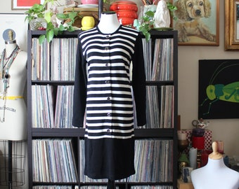 vintage black and white striped sweater dress, knit wool & acrylic by Karin Stevens, womens size medium