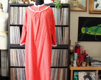 1980s vintage flannel nightgown, AS IS SALE, red Christmas morning pjs costume