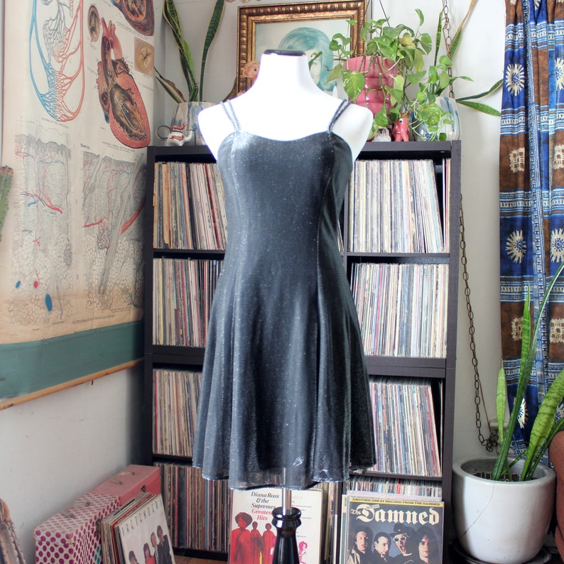 metallic silver & black vintage 90s prom dress mini with image 0