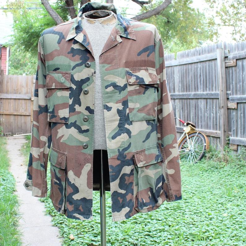 chest 44 weathered vintage camouflage jacket