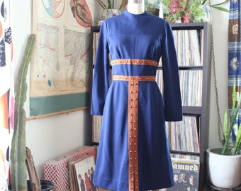 1960s mod vintage dress, STUDDED navy blue by Junior Accent, approx size small