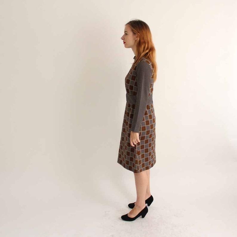 brown /& black checker board print 60s 70s vintage op art dress