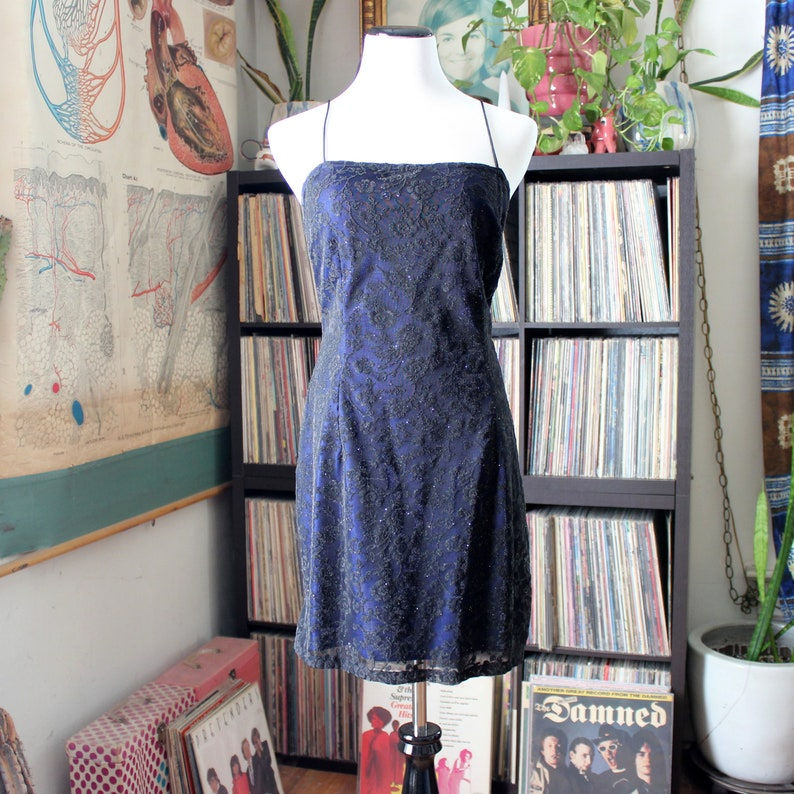 vintage 1990s prom party dress blue with black lace overlay image 0