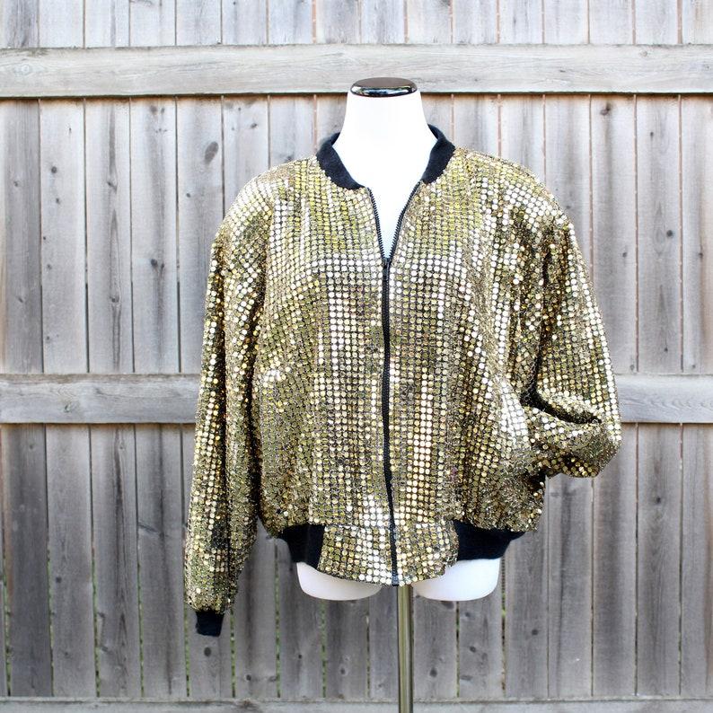 plus size shiny metallic vintage 80s 90s gold sequin bomber image 0