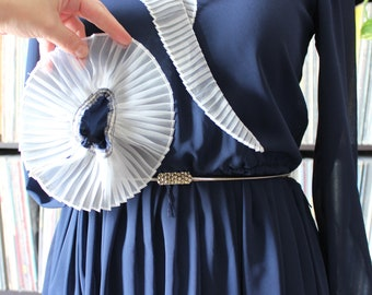 70s vintage dress, sheer navy blue w/ ruffle collar, St. Gillian by Kay Unger . APPROX medium large