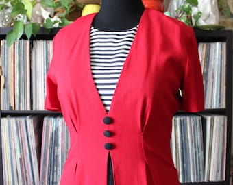 vintage suit dress, bright red with black and white stripes