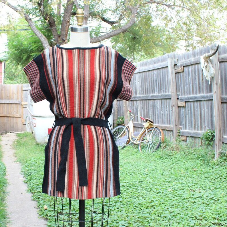 vintage 1970s sweater tunic vertical stripes with sash belt image 0