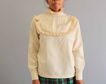 vintage ruffled blouse . bib front blouse . cream blouse with high collar . Edwardian blouse . womens clothing