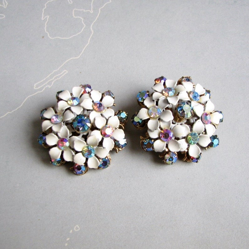 vintage 1960s white enamel flower cluster earrings with bright image 0