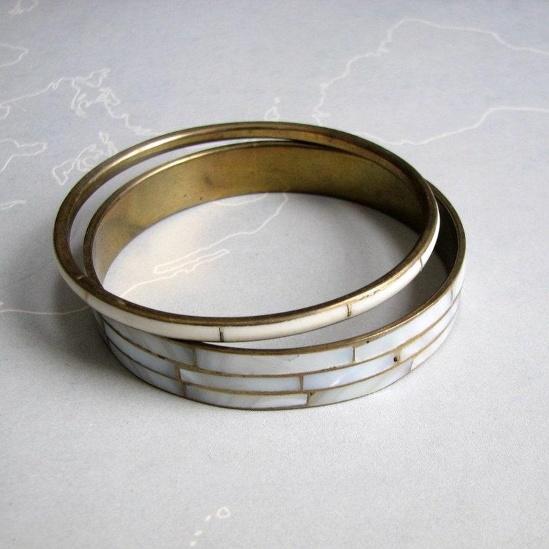 vintage white shell inlay and brass bangle bracelet set of 2 . image 0
