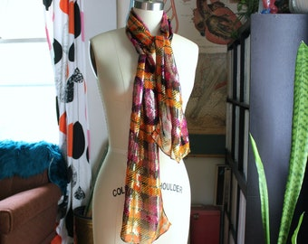 60s 70s vintage metallic rayon plaid scarf, long rectagle, orange purple gold by Baar & Beards