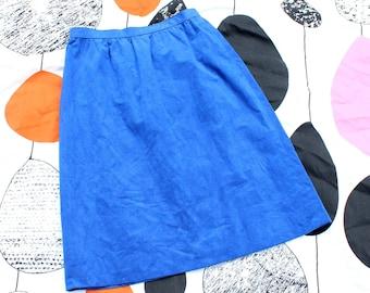 """vintage electric blue skirt, Toray Industries Japan, 26"""" waist ultrasuede"""