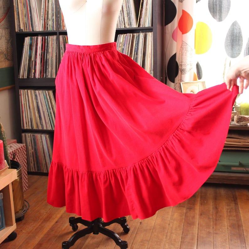 12ab85e095fba6 Vintage 70s 80s corduroy skirt . long red cord prairie skirt | Etsy