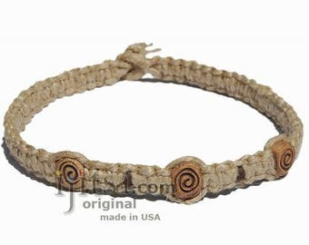 Natural flat thick hemp necklace with Swirl ceramic beads