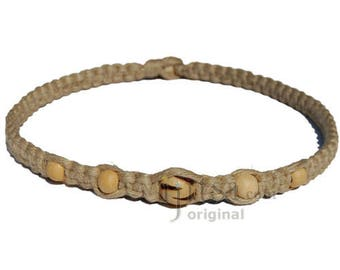 Natural flat wide hemp necklace round wood bead with triangles and small beads