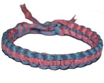 Sky blue and rose flat wide hemp bracelet or anklet
