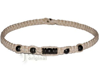 Natural flat wide hemp necklace with black fancy tube bead