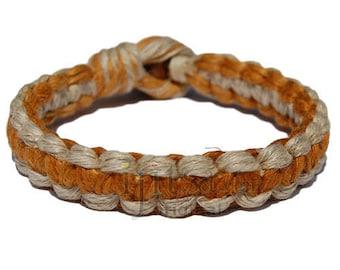 Natural and golden brown flat wide hemp bracelet or anklet