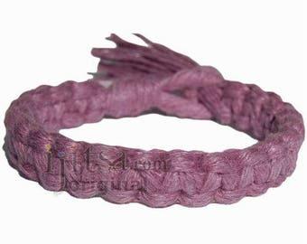 Lilac flat wide hemp bracelet or anklet